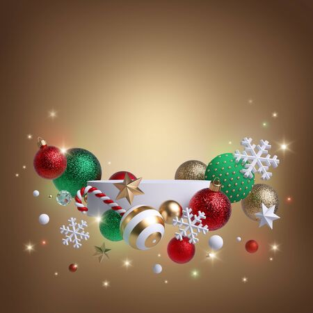 Christmas golden background with 3d ornaments: glass balls, stars, candy cane, snowflakes, lights. Blank podium, white pedestal, round platform. Banner template, commercial poster mockup. Copy space