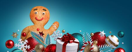 3d gingerbread man cookie, Christmas ornaments, balls, gift box, isolated on blue background. Blank banner, greeting card template, commercial poster mockup. Winter holiday concept. Wide size Banco de Imagens