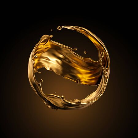3d rendering, round gold liquid splash, metallic wave, swirl, cosmetic oil, golden splashing clip art, artistic paint, abstract design element isolated on black background. Luxury beauty concept