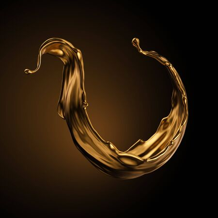 3d rendering, shiny gold wave, liquid splash, metallic swirl, cosmetic oil, golden splashing clip art, artistic paint, abstract design element isolated on black background. Luxury beauty concept Banco de Imagens