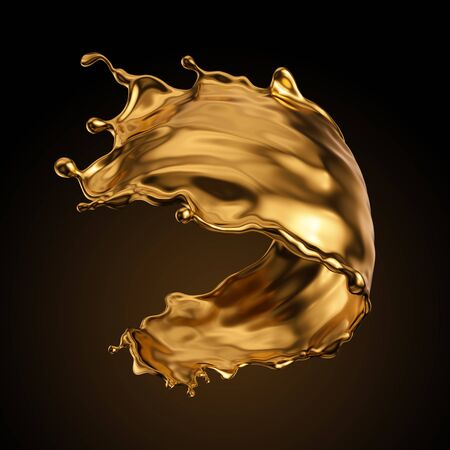 3d rendering, shiny gold liquid splash, metallic wave, swirl, cosmetic oil, golden splashing clip art, artistic paint, abstract design element isolated on black background. Luxury beauty concept Banco de Imagens