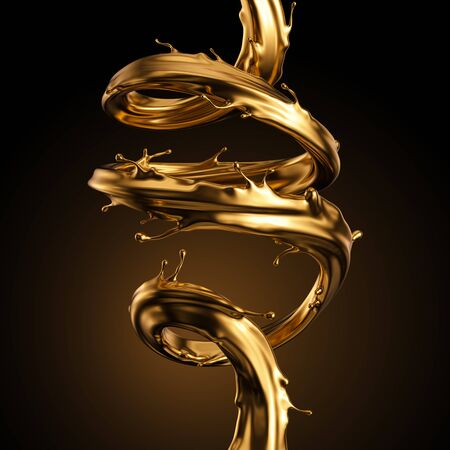 3d rendering, liquid spiral gold splash, artistic paint metallic jet, shiny wave, golden splashing clip art, abstract design element isolated on black background. Cosmetics ingredient. Luxury concept