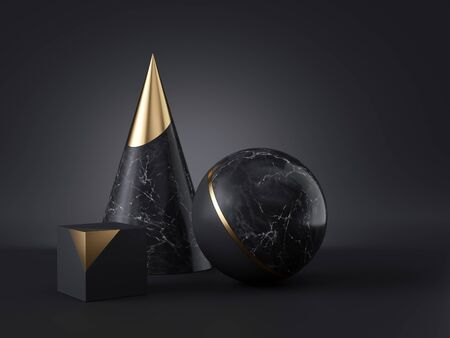 3d abstract primitive shapes isolated on black background, marble and gold cone ball cube, clean minimalist design, classy decor elements, modern geometric objects, premium futuristic style