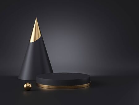 3d render, abstract minimalist geometric objects isolated on black background. Blank mockup, empty cylinder podium, gold metal. Copy space. Cone, ball primitive shapes, premium futuristic elements