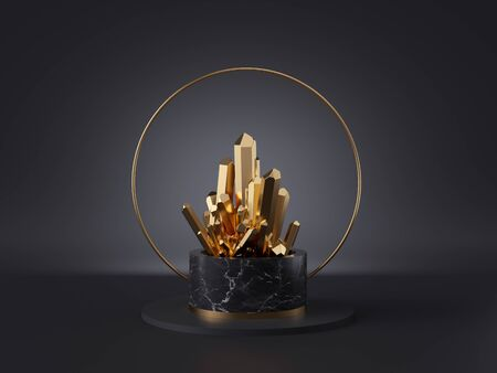 3d abstract modern minimalist background, magical golden crystal nugget, black marble cylinder podium, isolated object, fashion design elements, classy decor, simple clean design, esoteric concept