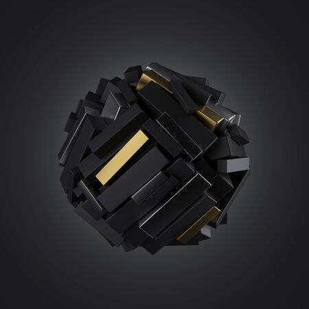 3d magnetic ball combined of mixed metallic chrome and gold geometric cubic shapes isolated on black abstract background, stack of blocks, primitive object, minimal futuristic design