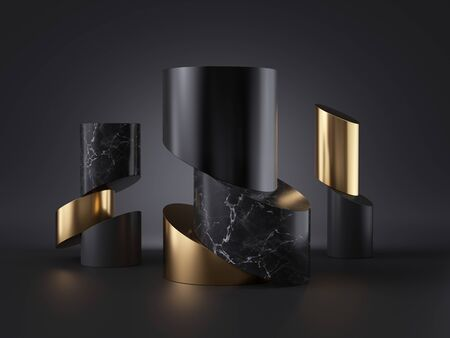 3d abstract black gold minimalist background, cut cylinder blocks, isolated objects, black marble stone texture, fashion elements, simple clean style, premium design