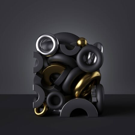 3d geometric objects isolated on abstract black background, torus and rings magnets, stack of toys, pile of chrome and gold metallic elements, assorted primitive shapes.