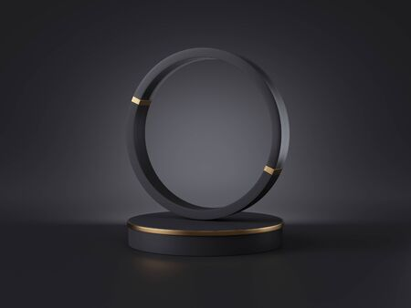 3d render, abstract black gold minimalist background. Empty cylinder podium, round frame, vacant place, blank template, copy space, shop product display, simple showcase stand, futuristic design Banco de Imagens