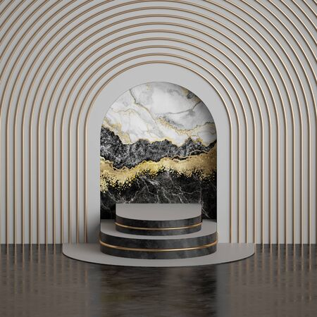 3d render, abstract art deco geometric background, black white marble niche, golden arch, pedestal steps, empty stage, fashion podium. Clean style, premium mockup, copy space. Modern minimal concept