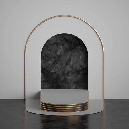 3d render, abstract modern minimal black white geometric background, marble niche with golden arch and pedestal steps, empty stage, fashion podium. Clean dramatic style, premium mockup with copy space Banco de Imagens