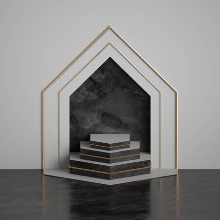 3d render, abstract art deco geometric background, black marble niche on white wall, arch, empty stage, fashion podium, pedestal steps. Modern minimal concept. Clean style blank mockup, copy space
