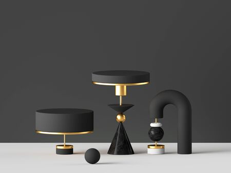 3d render, abstract minimal background. Gold, black white primitive geometric shapes, modern urban concept. Blank pedestal, cylinder podium, commercial showcase stand. Digital design