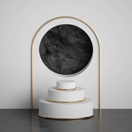 3d render, abstract geometric background, black marble round niche inside white wall, cylinder platform steps, fashion podium, pedestal. Modern minimal concept. Clean style blank mockup, copy space