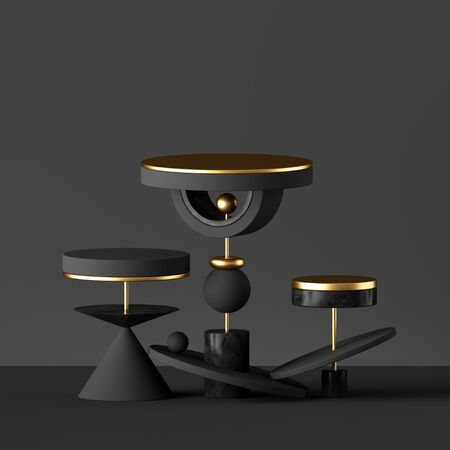 3d render, abstract minimal black background with golden elements. Primitive isolated geometrical shapes. Cone ball cylinder torus, blank pedestal or podium. Constructor toys. Modern urban concept