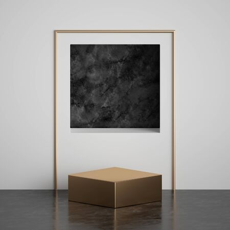 3d render, abstract art deco geometric background, black marble square niche with arch on white wall, gold stage, fashion podium, pedestal. Modern minimal concept. Clean style blank mockup, copy space Banco de Imagens