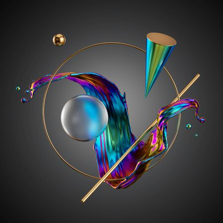 3d render, abstract modern minimal background. Primitive geometric shapes, iridescent liquid splash, holographic cone, glass ball, gold ring, metallic elements, simple isolated objects. Digital art Banco de Imagens