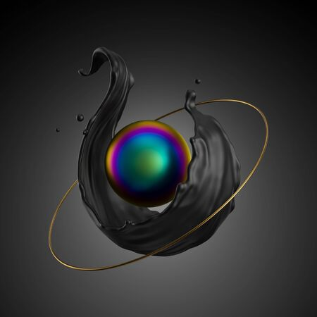 3d render, abstract modern minimal background. Black liquid splash, iridescent pearl, ball, core. Primitive geometric shapes, golden ring. Metallic elements, simple isolated objects. Digital art