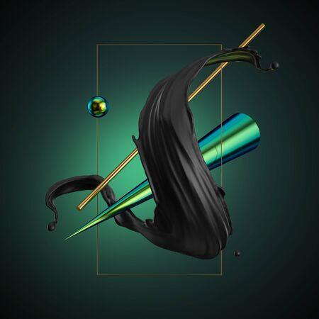 3d render, abstract modern minimal background. Black liquid spiral splash, primitive geometric shapes, gold square frame, green iridescent cone. Metallic elements, simple isolated objects. Digital art