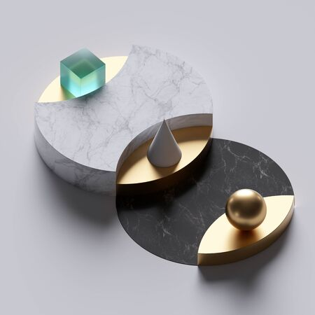 3d abstract minimal background, simple geometrical shapes, black and white marble round pedestals, golden elements, clean design, showcase podium, product display mockup, fashion concept Banco de Imagens