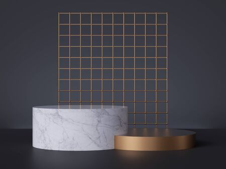 3d render, white marble pedestal isolated on black background, golden grid, cylinder podium, abstract minimal concept, blank space, clean design, commercial product showcase, luxury minimalist mockup Banco de Imagens