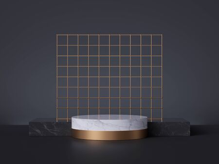 3d render, white marble pedestal isolated on black background, abstract minimal concept, cylinder podium, golden grid, blank space, clean design, commercial product showcase, luxury minimalist mockup