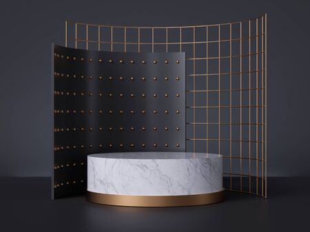 3d rendering of white marble pedestal isolated on black background, golden grid, cylinder podium, abstract minimal concept, blank space, clean design, luxury minimalist mockup