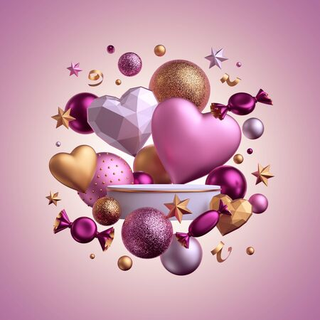 3d render. Valentine's day template isolated on pink background. Blank podium, empty product display, pedestal, showcase. Balls, candy, bonbon, sweets, wrapped chocolates, heart balloons, serpentine Banco de Imagens