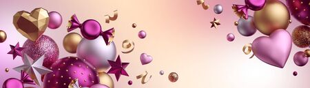 3d render. Valentine's day background, blank mockup, card template. Festive decor. Copy space. Wide web banner. Assorted balls, candy, bonbon, wrapped chocolate sweets, heart balloons, serpentine.