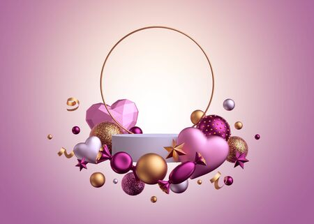 3d render. Valentine's day template isolated on pink background. Round gold frame. Blank podium, empty pedestal, showcase. Balls, candy, bonbon, sweets, wrapped chocolates, heart balloons, serpentine