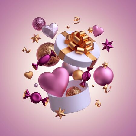 3d render. Party objects flying out the gift box. Levitating objects isolated on pink background. Valentine day or Birthday decor. Balls, candy, bonbon, sweets, chocolates, heart balloons, serpentine
