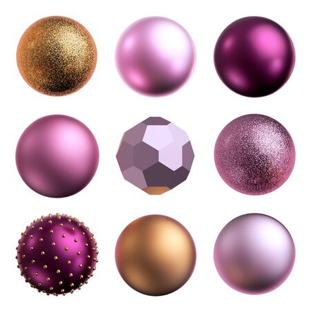 3d render, assorted metallic pink golden balls, objects isolated on white background. New Year Glass balls, beads, pearls. Design elements set. Festive clip art collection.
