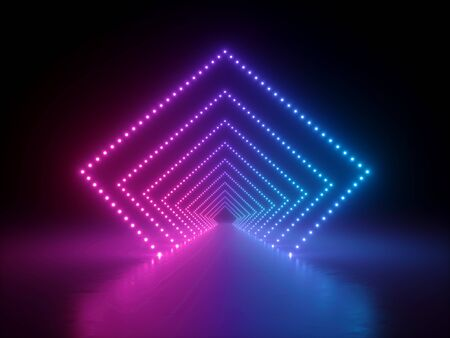 3d render, abstract neon geometric background, pink blue glowing rhombus shape. Long tunnel or corridor illuminated with lights, reflection on the floor. Modern empty performance stage design