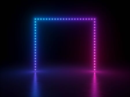3d render, abstract neon geometric background, pink blue glowing square frame illuminated with dot lights, reflection on the floor. Modern empty performance stage, minimal design Banco de Imagens