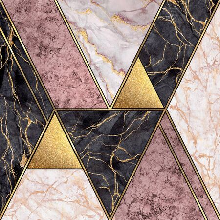abstract art deco geometric background, modern minimalist mosaic inlay, textures of pink marble granite gold, artistic painted marbling, artificial stone, marbled tile, fashion marbling illustration