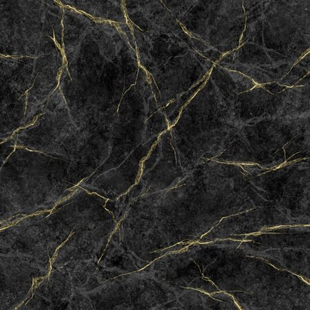 abstract marbling texture, black marble with golden veins, artificial stone illustration, hand painted background, wallpaper Banco de Imagens