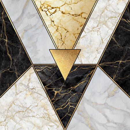 abstract art deco background, geometric pattern, modern mosaic inlay, creative textures of marble granite and gold, artificial stone, artistic marbled tile surface, fashion marbling illustration Banco de Imagens