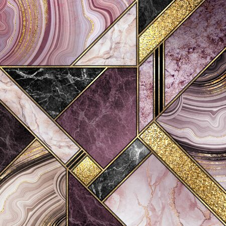 modern marble mosaic, abstract background, art deco wallpaper, artificial stone texture, purple gold marbled tile, geometrical fashion marbling illustration
