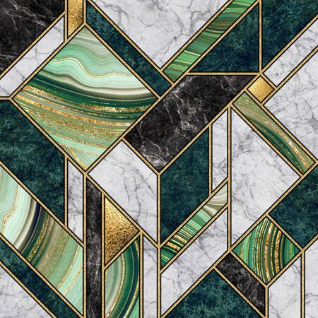 modern abstract marble mosaic background, art deco wallpaper, artificial stone texture, green gold marbled tile, geometrical fashion marbling illustration Banco de Imagens