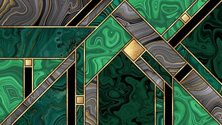 abstract art deco background, modern mosaic inlay creative texture, malachite marble granite agate gold, artistic painted marbling, artificial stone, marbled tile, fashion marbling illustration