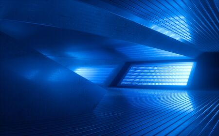 3d render, blue neon abstract background, ultraviolet light, night club empty room interior, tunnel or corridor, glowing panels, fashion podium, performance stage decorations, Banco de Imagens