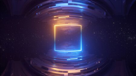 3d render, abstract futuristic geometric background, blue yellow neon light, glowing line, blank square frame, copy space, cosmos. Scientific concept. Fish eye lens effect