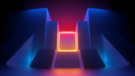 3d render, abstract red blue background, glowing yellow square shape, neon light. Empty frame. Architectural urban retro scene, staircase perspective. Simple geometric design. Futuristic concept Banco de Imagens