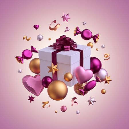 3d render. Gift box, party objects levitating isolated on pink background. Valentine day or Birthday decor. Greeting card concept. Balls, candy, bonbon, sweets, chocolates, heart balloons, serpentine Banco de Imagens
