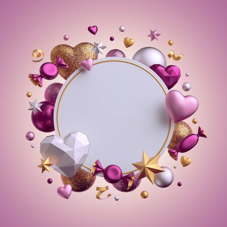 3d render. Valentine's day blank card template isolated on pink background. Round frame. Assorted balls, candy, bonbon, sweets, wrapped chocolates, heart balloons, serpentine. Party objects levitating