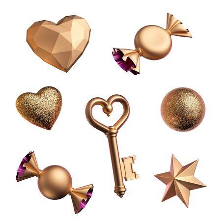 3d render, assorted golden objects isolated on white background, Valentine day or Birthday design elements. Festive clip art: candies, wrapped chocolate sweets, bonbon, star, serpentine, heart, star.