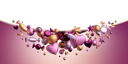3d render. Valentine's day background. Blank envelope template. Copy space. Assorted metallic pink gold purple balls, candy, bonbon, wrapped chocolate sweets, heart balloons, serpentine. Festive decor