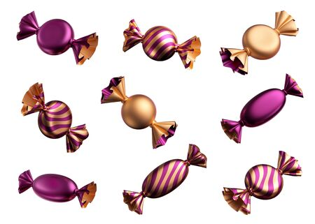 3d render, assorted confectionery clip art: sweets, candies, wrapped chocolates, bonbon, wrapped with shiny metallic foil. Objects isolated on white background, romantic design elements. Sweet snack.