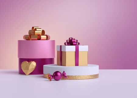3d render. Wrapped gift boxes, golden heart, candy isolated on pastel pink background. Valentine day, Birthday, Wedding. Commercial shopping concept, poster mockup. Product display for advertisement