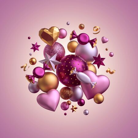 3d render. Valentine's day decor. Pink background. Greeting card. Isolated bunch of balls, candy, bonbon, sweets, wrapped chocolates, heart balloons, serpentine. Birthday party objects levitating